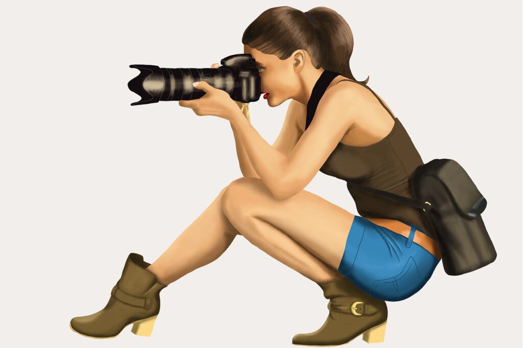 girl, photographer, camera